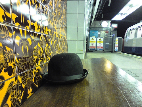 Bowler hat on a bench